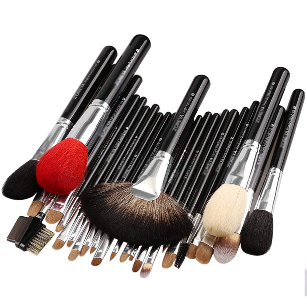 26ピース高級ナチュラルヤギヘアファン化粧ブラシプロの化粧品化粧ブラシセット美容アイシャドウブラシ B07R8VK45L Black