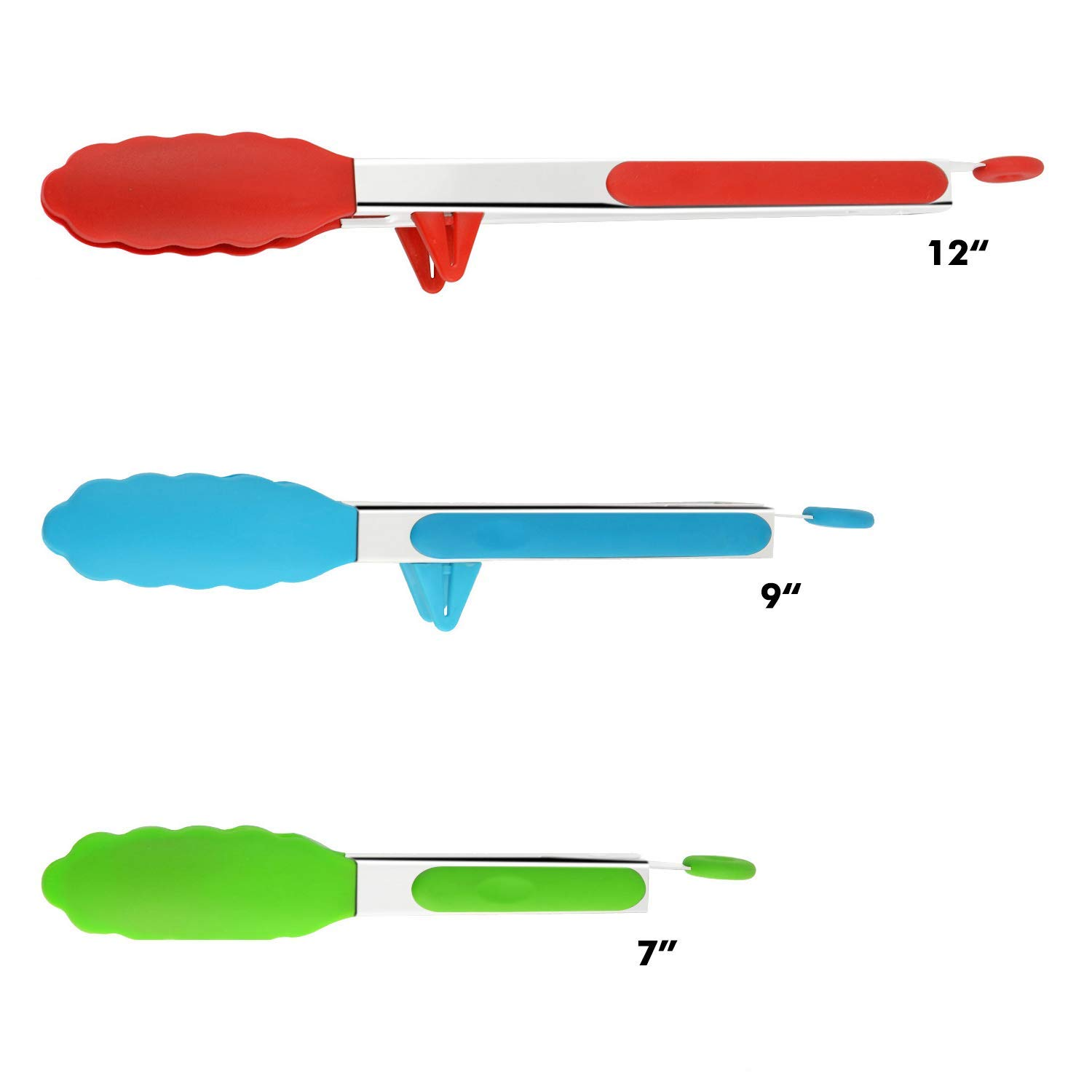 DeroTeno Kitchen Tongs with Silicone Tips and Stands, Cooking Tongs, Bbq Grill Tongs, Set of 3 by DeroTeno (Image #2)