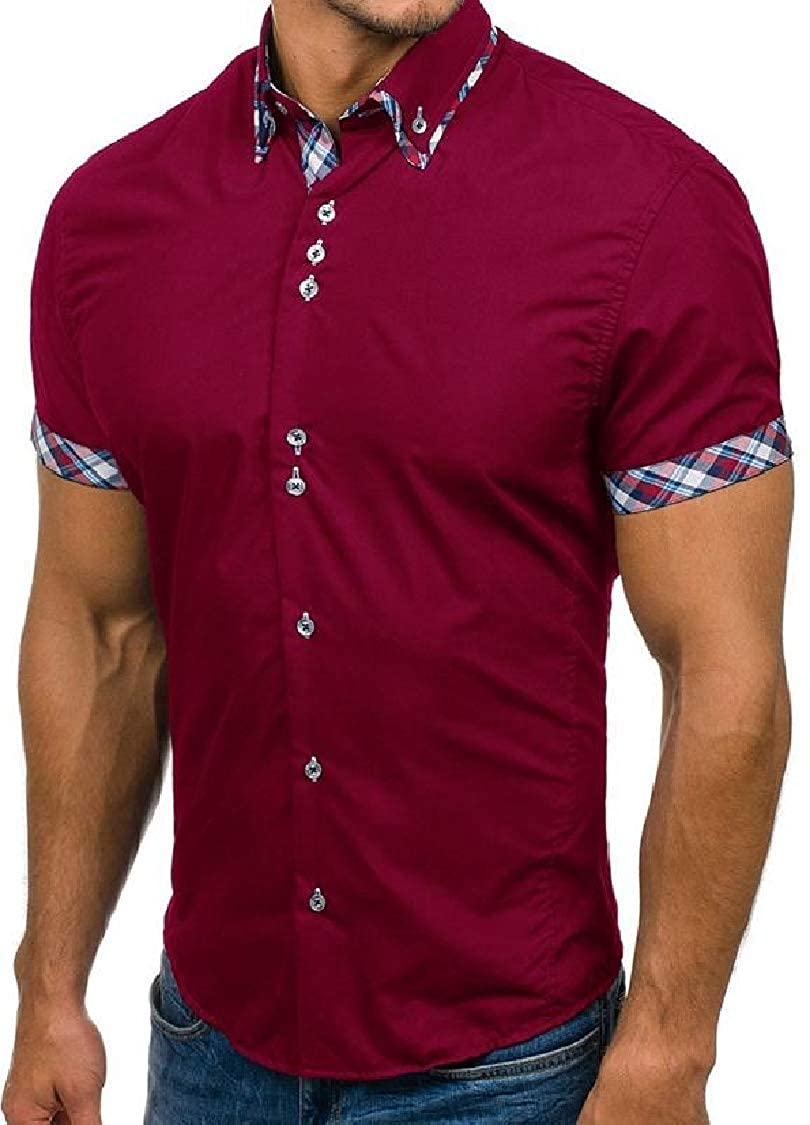pipigo Mens Button Front Checkered Slim Fit Short Sleeve Casual Shirts