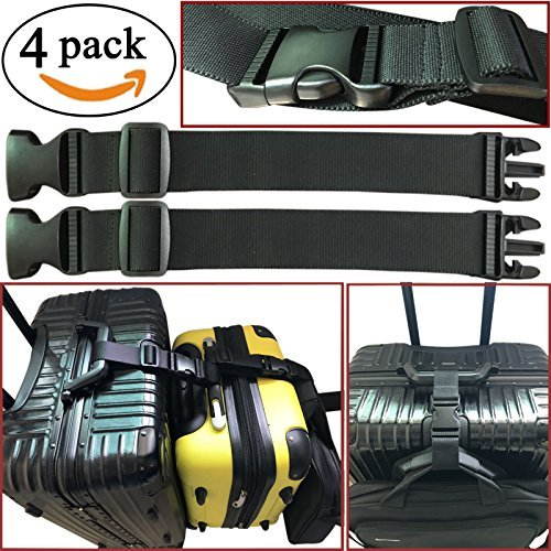 - 4pcs Two Add a Bag Luggage Set Strap Travel Luggage Suitcase Adjustable belt Travel Accessories Travel Attachment - Connect your 3 luggages