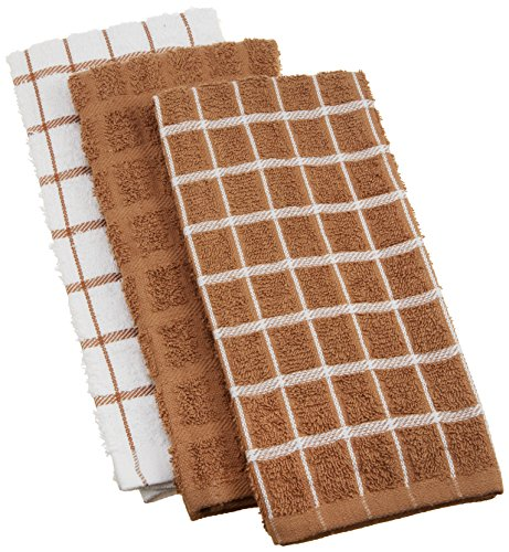"""Ritz 100% Cotton Terry Kitchen Dish Towels, Highly Absorbent, 25"""" x 15"""", 3 Pack, Mocha Brown"""
