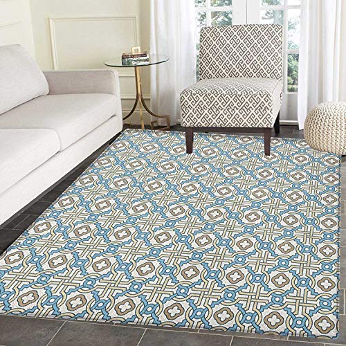 Quatrefoil Area Silky Smooth Rugs Circular and Floral Shapes with Intricate Design Traditional Moroccan Star Floor Mat Pattern 4