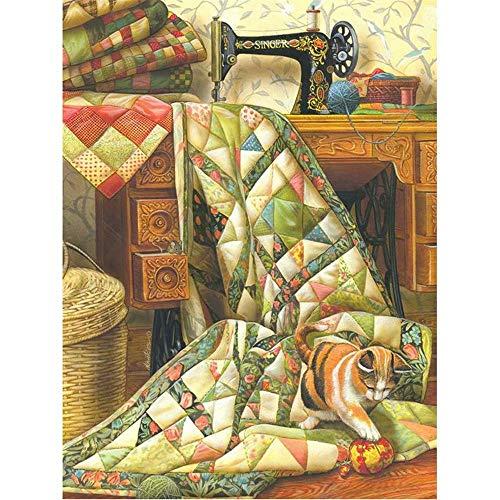 DIY 5D Full Drill Diamond Painting by Number Diamond Sewing Machine Cat Painting Handmade Kits Diamond Painting Handmade Wall Painting Wall Art 18x24 Inch