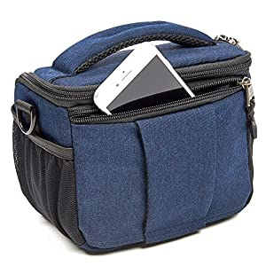 Evecase SLR Digital Camera Holster Shoulder Bag, Compact System Carrying Case Feature Shell for Superior Protection, Multiple Pockets for Accessories, Shock and Water Resistant Material - Navy Blue