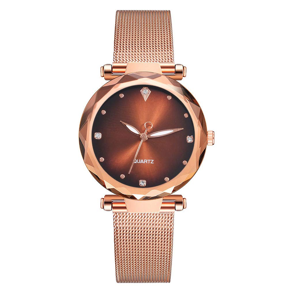 Clearance On Sale Watches,FRana Wrist Watch Retro Leather Band Luxury Fashion Stainless Steel Band Analog Quartz Watch