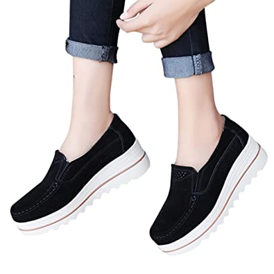 0f9f30bdc133a vermers Clearance Moccasins Women - Ladies Flats Muffin Shoes Sneakers  Leather Casual Creepers Shoes(US
