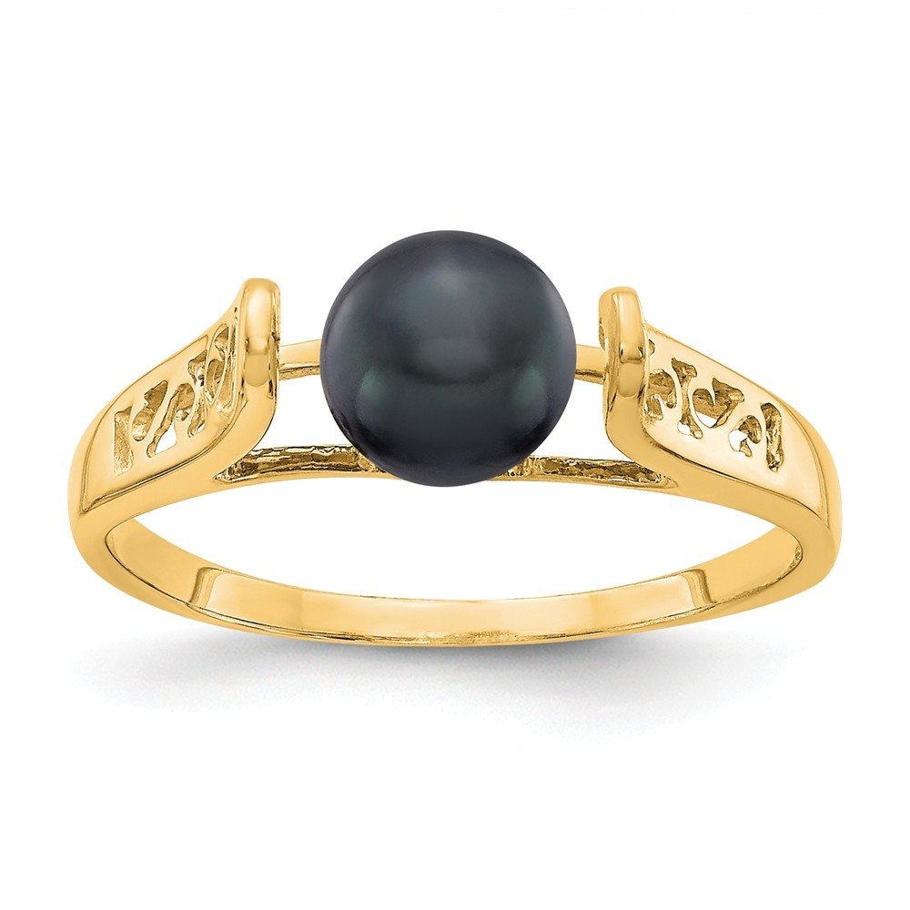 Jewelry Adviser Rings 14k 6mm Black FW Cultured Pearl ring