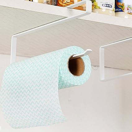 Wrighteu Soporte para Rollo Portarrollos de Papel de Cocina Titular Dispensador para Colocar Bajo el Mueble