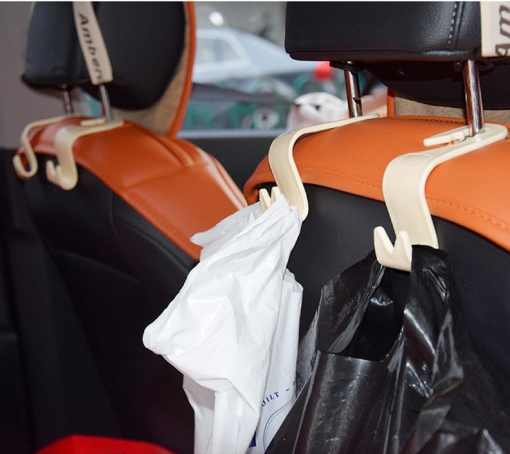 Igemy 4Pcs Car Seat Back Headrest Holder Hook for Bag Coat Organizer Holder Universal brown
