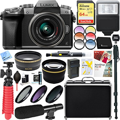 Panasonic LUMIX G7 Interchangeable Lens Mirrorless Digital Camera with 14-42mm Lens + 64GB SDXC Memory Card & Microphone Accessory Bundle (Silver) by Beach Camera