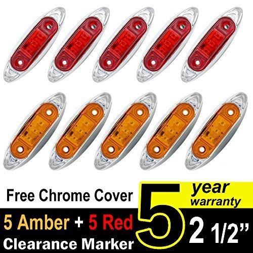 TMH Mini Side Led Marker ( QR Model ) 5 Pcs Amber Light + 5 pcs Red Light with Chrome Bezel , Universal LED Clearance Markers for Truck Trailer Boat ()