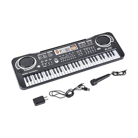 Tutmonda Teclado de piano electrónico multifuncional 61 teclas Desarrollo musical educativo portátil Micrófono incorporado Instrumento enseñanza