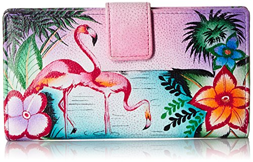 Anna by Anuschka Hand Painted Leather | Two Fold Wallet/Clutch | Tropical Flamingo