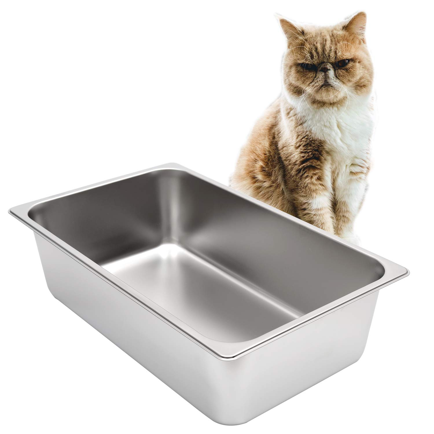Kichwit Stainless Steel Litter Box for Cat and Rabbit, Non Stick Smooth Surface by Kichwit