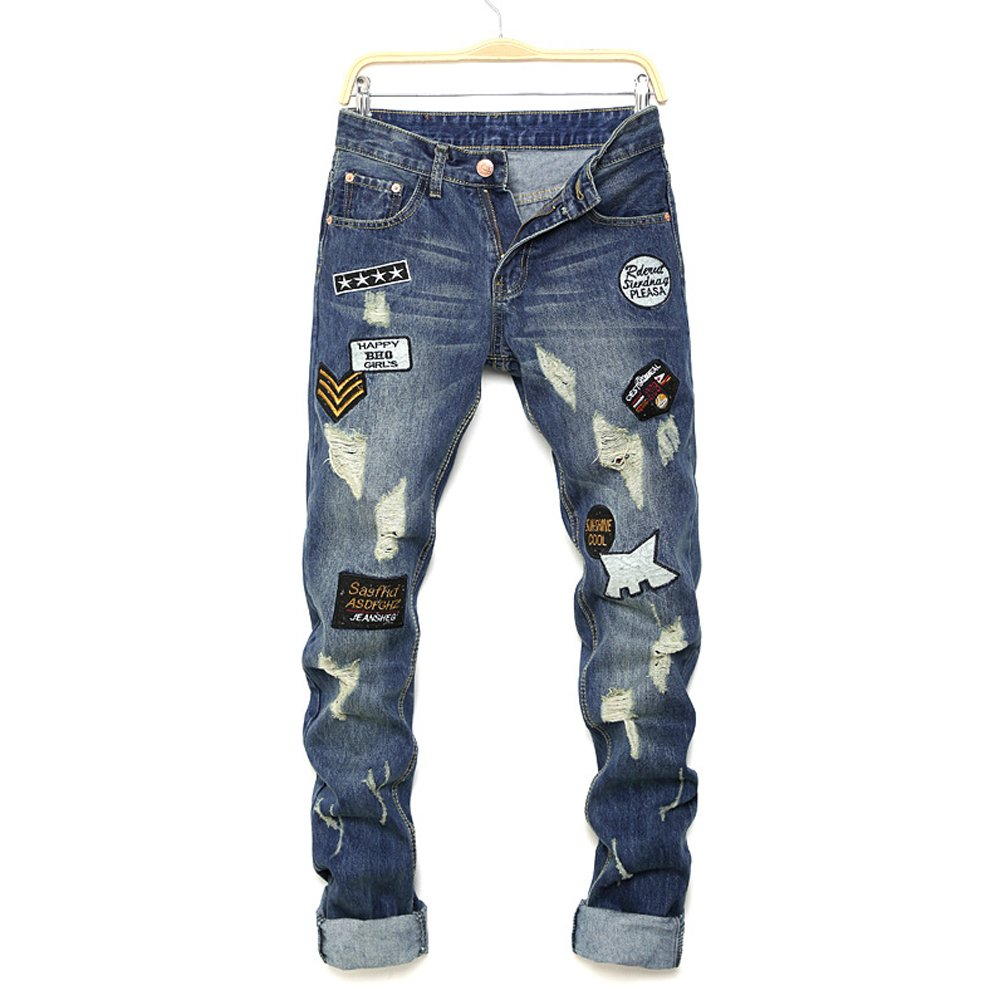 ce2e127a0 Boys Vintage Look Denim Jeans,2018 New Design Distressed Ripped Jeans,  Destroyed Ripped Slim Fit Casual Jeans: Amazon.co.uk: Clothing