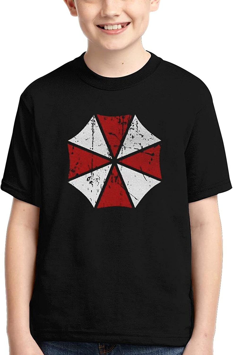 Cfttyvmg 3devil Umbrella Print Youth Shirt, Kids Short Sleeve,Workout and Training Shirts Casual for Boys