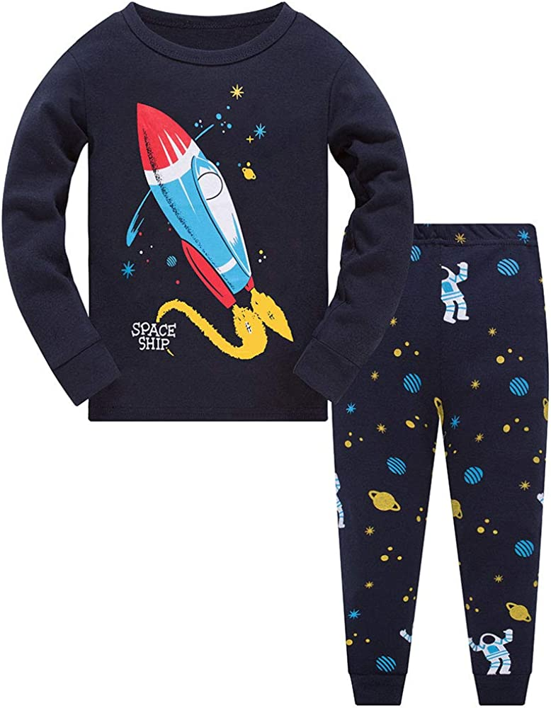 Boys PJs Summer Short Sleeve Pyjamas Grey Spaceship