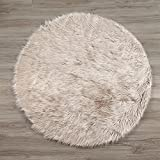 LEEVAN Plush Sheepskin Style Throw Rug Faux Fur Elegant Chic Style Cozy Shaggy Round Rug Floor Mat Area Rugs Home Decorator Super soft Carpets Kids Play Rug, Coffee 4 ft Diameter