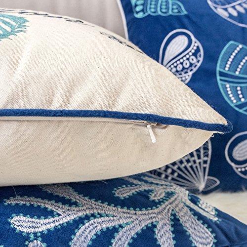 Homey Cozy Embroidery Cotton Canvas Throw Pillow Cover,The Beach Comber Collection Navy Aqua Nautical Decorative Pillow Case Coastal Beach Theme Home Decor 20x20,Cover Only