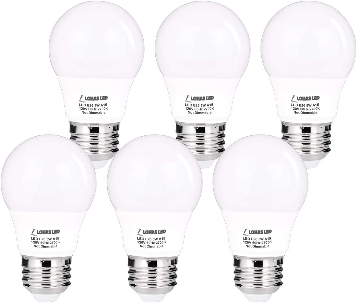 LOHAS A15 LED Bulbs, 40 Watt Equivalent Light, E26 Base Small Lights, Warm White 2700K Ceiling Fan Light Bulb, 120V Refrigerator LED, Non-Dimmable 450LM for Kitchen, Bathroom, Home Lighting, 6 Pack