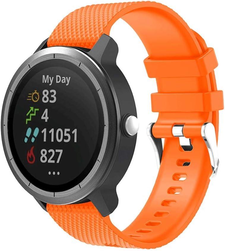 METEQI Correa Compatible con Garmin Vivoactive 3,Correa Reloj Silicona Suave Ajustable 20mm para Garmin Vivoactive 3/Forerunner 645 Música/Samsung Galaxy 42mm (Color Naranja)