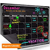 Bigtime Magnetic Refrigerator Calendar Dry Erase Black Chalkboard Board Design | Monthly for Kitchen Fridge| Use w/ Wet Wipe Fluorescent or Neon Markers
