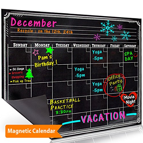 Bigtime Dry Erase Magnetic Refrigerator Calendar Board | BlackChalkboard Printed Design | Monthly for Kitchen Fridge| Use w/Wet Wipe Fluorescent or Neon Markers
