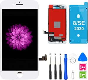 FFtopu iPhone 8/SE 2020 Screen Replacement, LCD Display & Touch Screen Digitizer Frame Assembly White with Repair Tools for A1863, A1905, A1906 (4.7 Inch)
