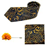 Gent's Club Necktie Set Pocket Square Lapel Pin for Men Ceremony Navy Blue Yellow Gift Set Wedding