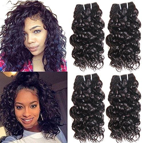 (Ms Taj Brazilian Water Wave Virgin Hair 4 Bundles 8A Wet and Wavy Human Hair Weaves 100% Unprocessed Brazilian Curly Weave Human Hair Extensions 50g/Bundle Natural Black (water 8 8 8 8))