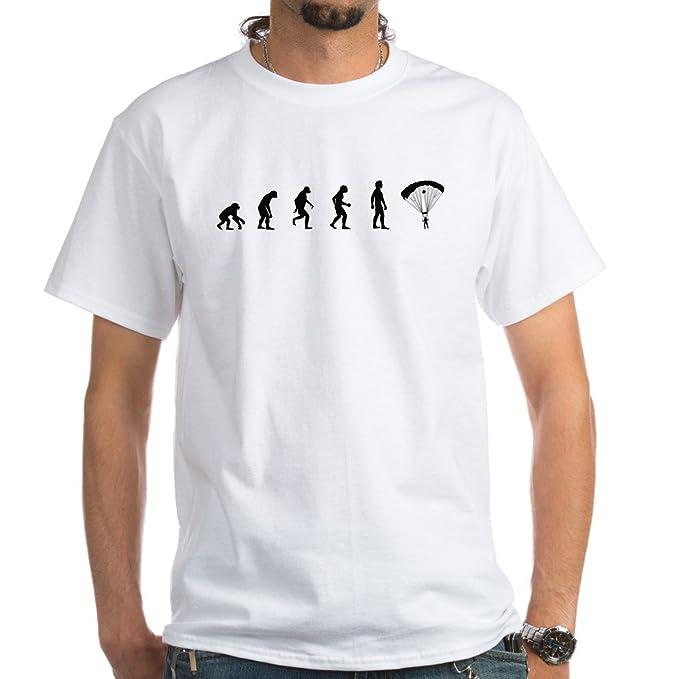 fe6e5b8c5 CafePress Evolution of Skydiving White T-Shirt 100% Cotton T-Shirt, White