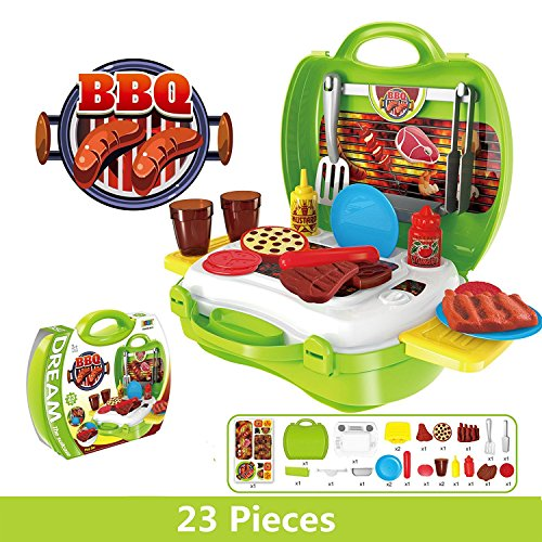 Gourmet Outdoor Cooking Set (Kids Pretend Play BBQ Playset, Leagway Simulation Barbecue Grill Tools Kitchen Gourmet Food Role Paly Set, 23Pcs/Set in Portable Travel Suitcase Cooking Toy Kit for Kids Boys Girls Toddler (Barbecue))