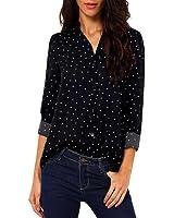 Kshion Women Casual Dot Long Sleeve Chiffon T Shirt Loose Tops Blouse