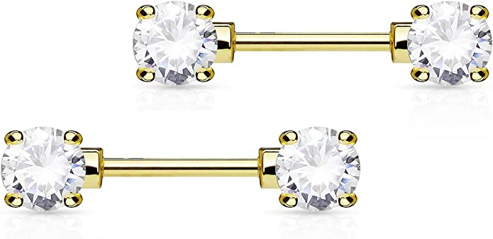 316L Surgical Steel Gold Ion Plated Nipple Bar with 4 Clear CZ Gem Set Filigree