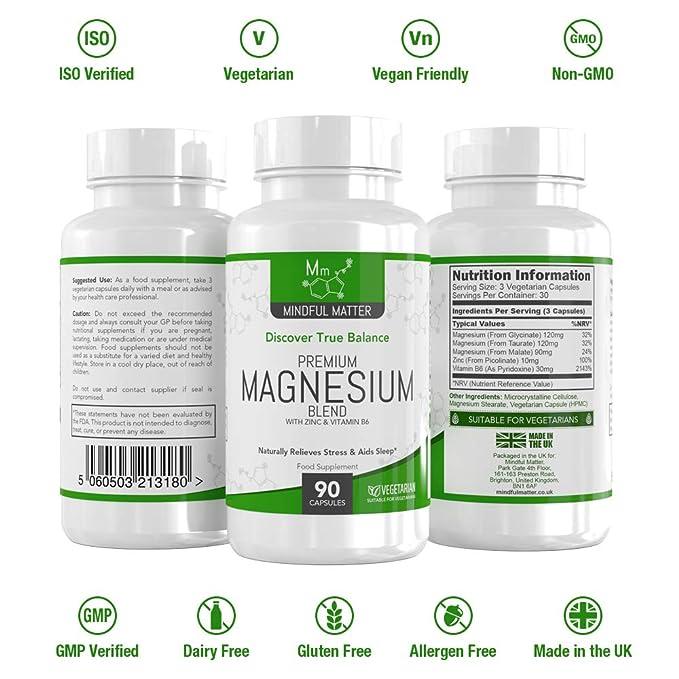 Fórmula de Magnesio 330 mg - Magnesio en 3 Tipos Diferentes Altamente Biodisponible - GLICINATO, TAURATO & MALATO + Vitamina B6 y Zinc - Activo por Dosis ...
