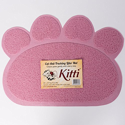 Kitti Cat Litter Anti Tracking Mats, Paw Print, Pink