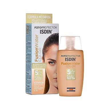 ISDIN Fotoprotector Fusion Water Color Spf 50, Protector Solar Facial de Fase Acuosa con Color Para Uso Diario, Cobertura Natural