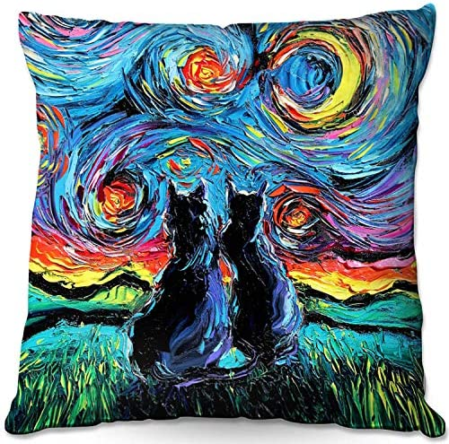 Decorative Woven Couch Throw Pillow from DiaNoche Designs by Aja Ann – Van Gogh Cats 1