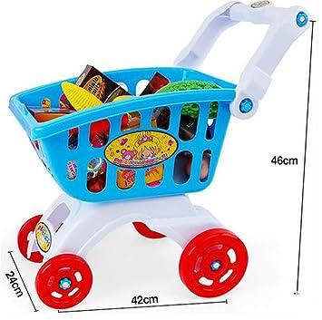 Wisdom Carro Infantil de Simulación de Juguetes para niños, niña en el supermercado pequeño Carrito