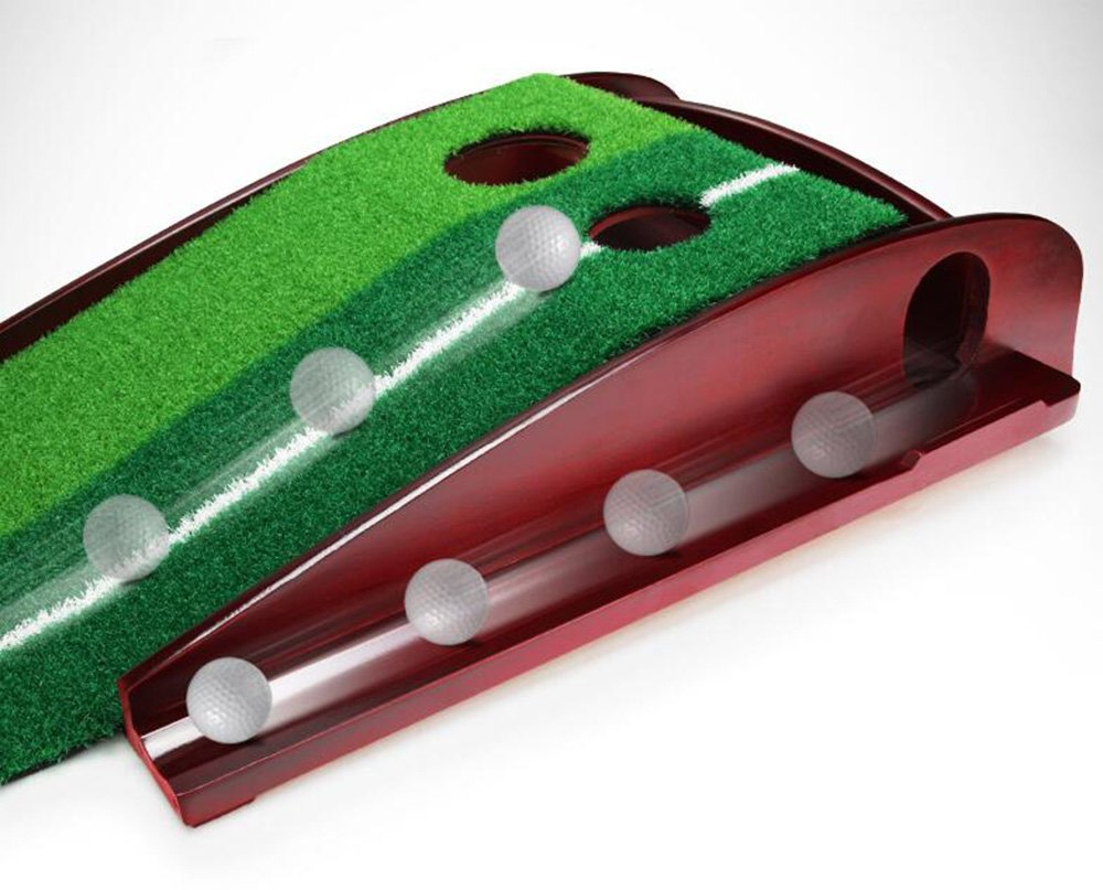Honghetai Premium Wooden Putting Green Indoor Outdoor Golf, Golf Putting Mat Convenient Indoor Practice Training Aid Mat with Two Holes Ball Return System by Honghetai (Image #5)