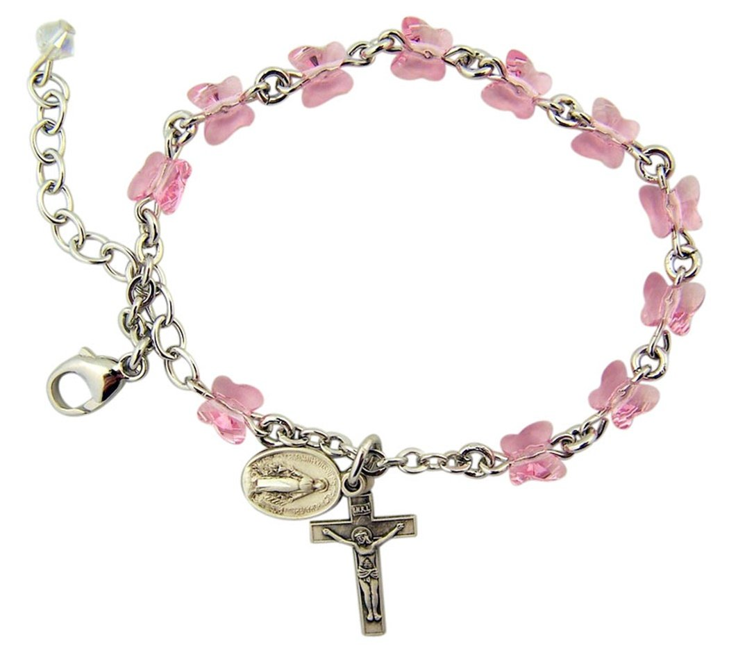 Light Rose Glass Butterfly Bead Bracelet with Miraculous Medal and Crucifix, 7 1/2 Inch