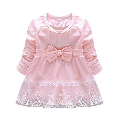 c9afa4b75 Image Unavailable. Image not available for. Color: ❤️Mealeaf❤️Toddler  Infant Kids Baby Girl Ruffled Dress Clothes Backless Solid Casual Long  Sleeve