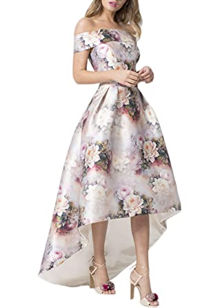 ea6032038c19fb GOSOPIN Women Off Shoulder Floral Print Long Prom Dress Evening Gown Small  White