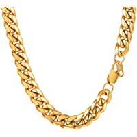 PROSTEEL 10/14 MM Mens Curb Cuban Chain Necklace, 18/20/22/24/26/28/30Inch, 18K Gold Plated/316L Stainless Steel/Black Color-(with Gift Box, Pouch)