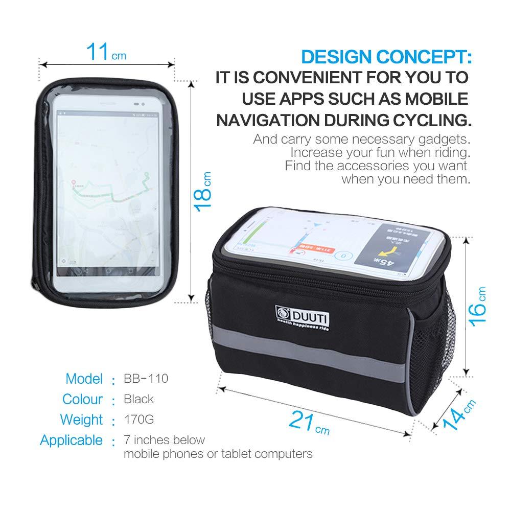 AlIXIN-Alforja impermeable ara bicicleta,con soporte para tel/éfono con pantalla t/áctil.Soporte para manillar GPS bolsa de almacenamiento para bicicleta,bolsa de tubo superior para bicicleta.