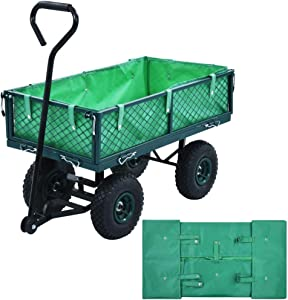 JanKen Outdoor Utility Wagon Heavy Duty Large Capacity Mesh Steel Garden Cart Utility Wagon Green