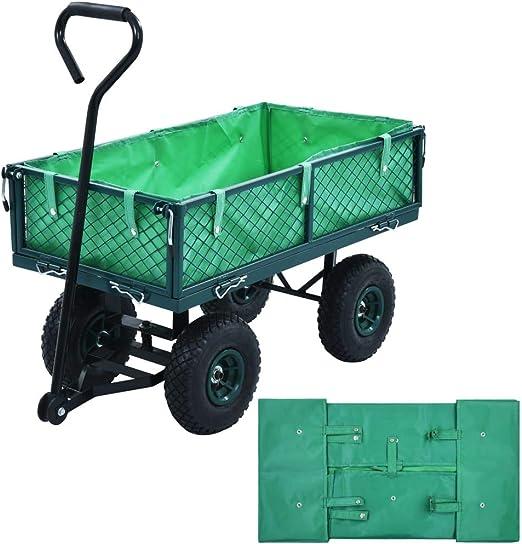 Tidyard Carro Plegable Carro de Mano Carrito Playa Carro Transporte para Jardín Forro para Carretilla de jardín Tela Verde: Amazon.es: Hogar