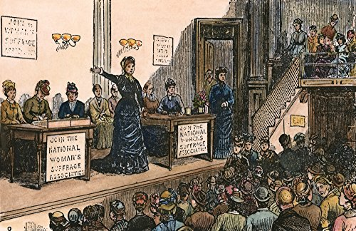 WomenS Rights 1870S Na Meeting Of The National WomenS Suffrage Association In The 1870S With Susan B Anthony And Elizabeth Cady Stanton On The Platform Contemporary Wood Engraving Poster Print by (18