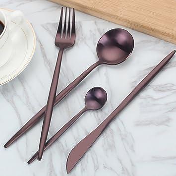 YGJT Cubiertos Cuberterias Combinadas de Acero Inoxidable 4 Piezas Color violeta Oscuro Cuchillo Cuchara Tenedor Cucharilla: Amazon.es: Hogar