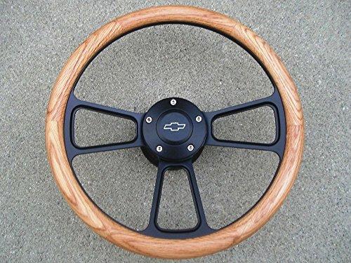 - 1967 to1968 Chevy Impala, Bel Air Real Oak & Billet Steering Wheel, Full Kit